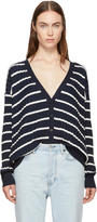 Alexander Wang Navy and White Relaxed Stripe Cardigan