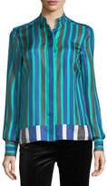Diane von Furstenberg Long-Sleeve Striped Cuffed Button-Down Satin Shirt
