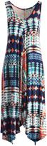Glam Navy & Teal Abstract Sleeveless Handkerchief Dress