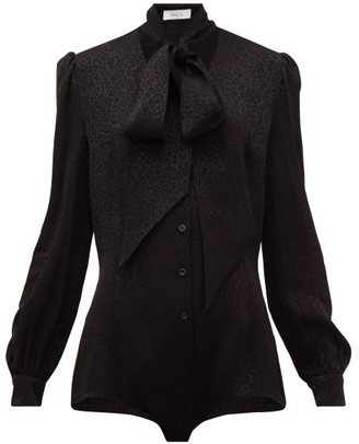Racil Margaux Pussy-bow Leopard-jacquard Bodysuit - Black