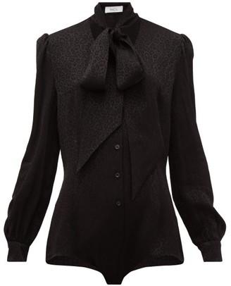 Racil Margaux Pussy-bow Leopard-jacquard Bodysuit - Womens - Black