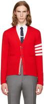 Thom Browne Red Classic V-neck Cardigan