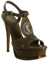 khaki leather medallion t-strap platform sandals