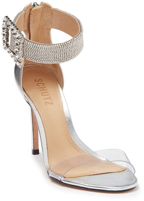 Schutz Tanisha Embellished Leather Stiletto Sandal
