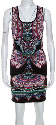 Roberto Cavalli Multicolor Lurex Jacquard Knit Sleeveless Dress S