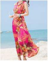 WeiYin Women's Chiffon V-neck Sleeveless Printed Summer Beach Dresses Maxi Dress L