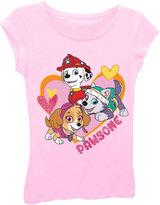 Asstd National Brand Paw Patrol Girls' Pawsome Heart Short Sleeve Graphic T-Shirt with Pink Glitter