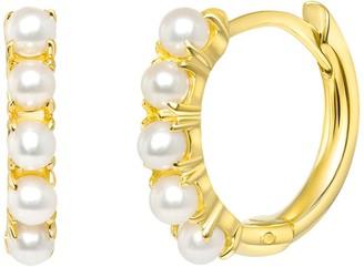 Ron Hami 14K Yellow Gold Freshwater Pearl Huggie Hoop Earrings