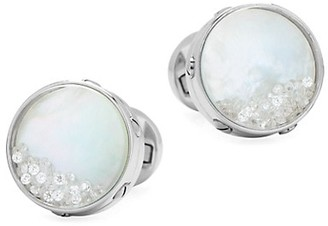 Cufflinks Inc. Ox & Bull Trading Co. Stainless Steel, Mother-Of-Pearl & Pave Crystal Cufflinks
