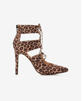 Express leopard print lace-up pump