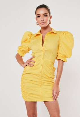 Missguided Lemon Cotton Poplin Ruched Puff Sleeve Mini Dress
