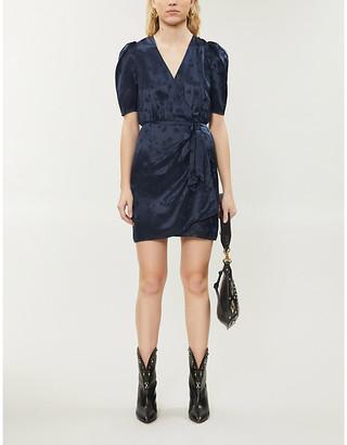 The Kooples Jacquard wrap-over satin mini dress