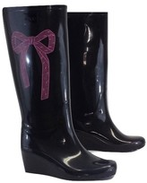 RED Valentino Black & Pink Bow Rain Boots