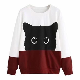 jieGorge Sweatshirt for Women Casual Cat Print Long Sleeve Hoodie Sweatshirt Hooded Pullover Tops Blouse