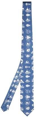 Prada Whale Print Silk Twill Tie - Mens - Light Blue