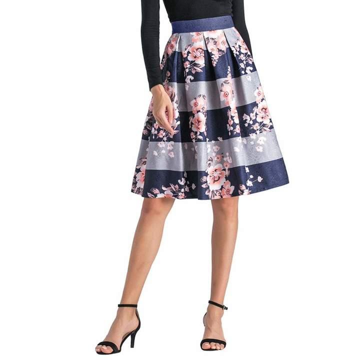 Shops YSJ Ladys Pleated Midi Skirt High Waist A-Line Floral
