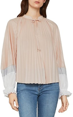 BCBGMAXAZRIA V-Neck Pleated Long-Sleeve Top