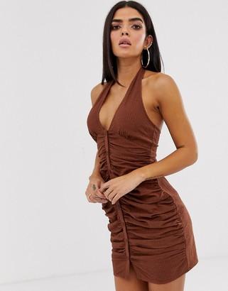 ASOS DESIGN halter neck ruched seersucker mini dress