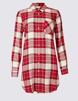 M&S Collection Checked Longline Long Sleeve Shirt
