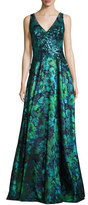 Badgley Mischka Sleeveless Sequined Floral Gown, Green/Blue