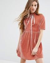 Motel Velvet Dress With Tie Up Bow Neck