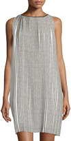 Max Studio Printed Pleated Swing Dress, Ivory/Black