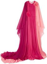 Gucci Appliquéd Color-block Silk-mousseline Gown - Pink