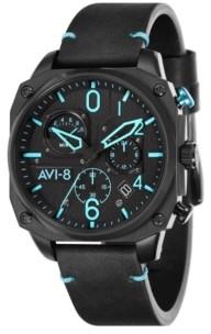 AVI-8 Men's Hawker Hunter Chronograph Retrograde Edition Black Genuine Leather Strap Watch 45mm