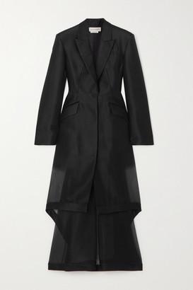 Alexander McQueen Layered Asymmetric Wool And Silk-blend Organza Coat - Black