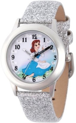 Disney Princess Belle Girls' Stainless Steel Time Teacher Watch with Glitz, Silver Giltter Leather Strap