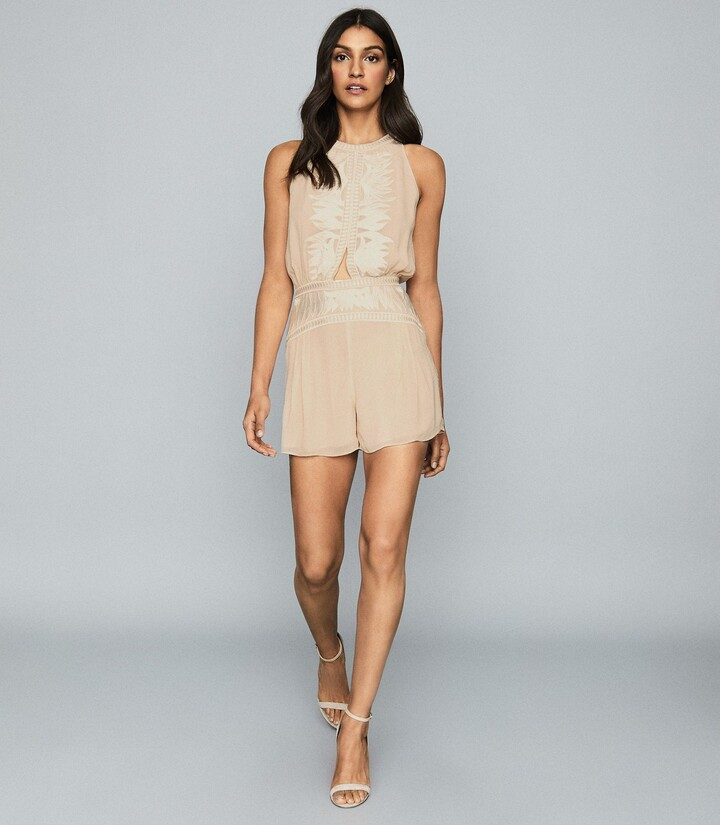 Thumbnail for your product : Reiss Coco - Embroidered Resortwear Playsuit in Nude