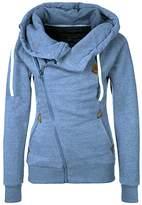 DOKER Women's Personality Oblique Zipper Hoodie Sweater Coat, S