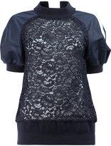 Sacai puff sleeved lace sweatshirt - women - Cotton/Nylon/Rayon - 1