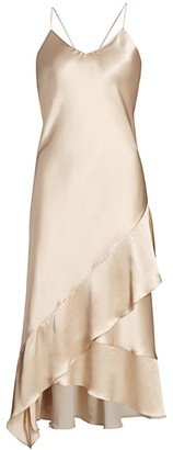 Adriana Iglesias Carmen Asymmetric Ruffle Silk Slip Dress