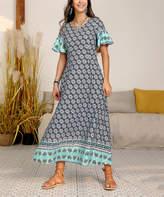 Reborn Collection Women's Maxi Dresses Blue - Blue Floral Ruffle Sleeve Maxi Dress - Women