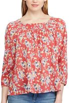 Chaps Petite Floral Smocked Peasant Top