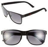 Gucci Men's '2247S' 56Mm Polarized Sunglasses - Semi Matte Black/ Grey