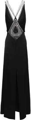 Temperley London Ballerina Split-front Crystal-embellished Satin Maxi Dress