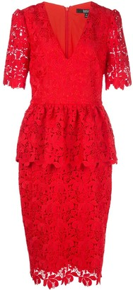 Badgley Mischka Fitted Lace Dress