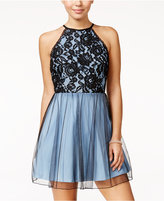 Speechless Juniors' Lace Halter Fit & Flare Dress
