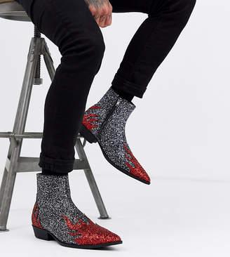 Asos Design DESIGN Wide Fit cuban heel western boots in black glitter flame