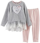 Nannette Baby Girl Heart Ruffle Top & Leggings