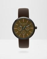 Leather strap round watch