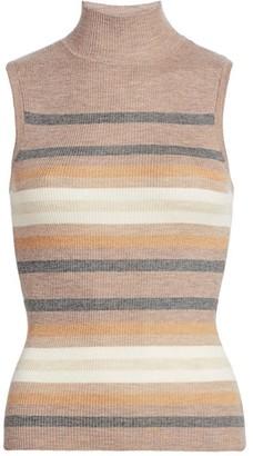 Theory Stripe Sleeveless Cashmere Sweater