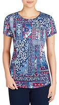 Allison Daley Petites Wide Crew Neck Allover Patchwork Print Knit Top