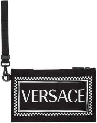 Versace Black and White Logo Pouch
