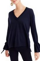 J.Crew Women's Drawstring Sleeve V-Neck Merino Wool Sweater