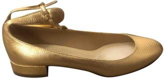 Francesco Russo Gold Patent leather Flats