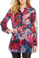 Gianni Bini Gabby Point Collar Long Sleeve Floral Chiffon Tunic