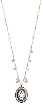 Meira T 14K Yellow Gold Pave Diamond Oval Pendant Necklace